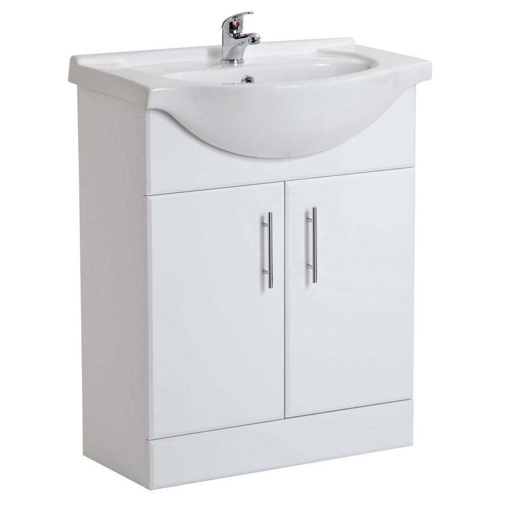 Alaska Gloss White Vanity Unit Suite with 1700 Single Ended Acrylic Bath Feature Large Image