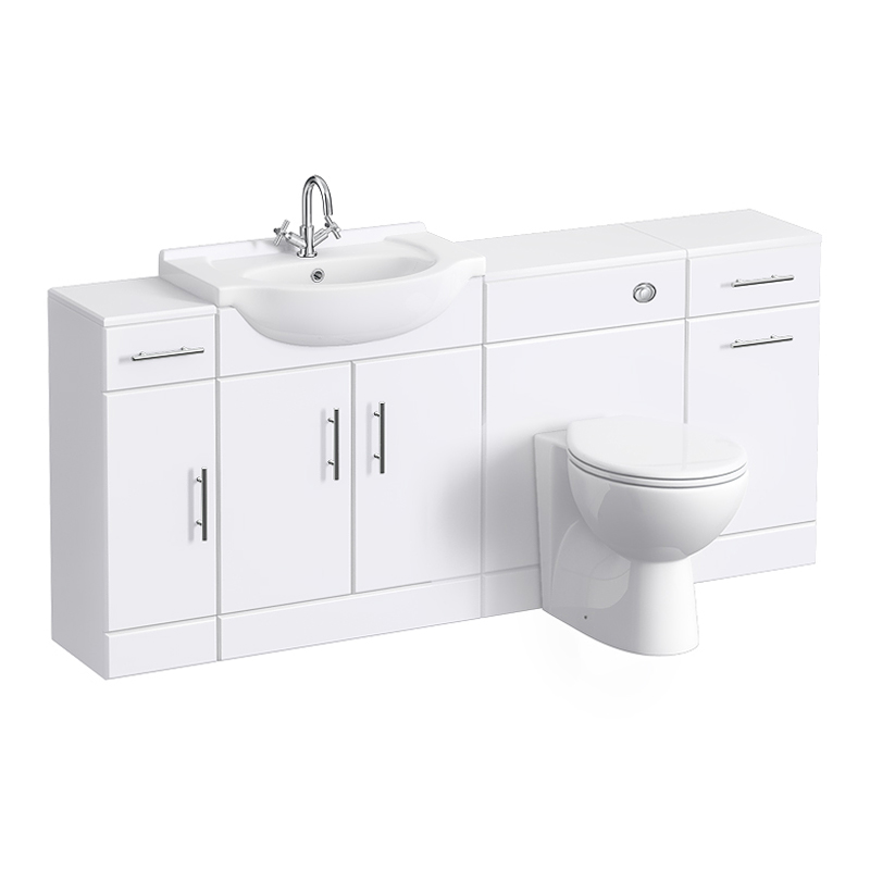Alaska 1720mm 4 Piece Vanity Unit Suite (High Gloss White - Depth 300mm) Large Image