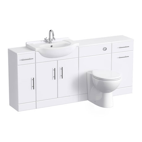 Alaska 1720mm 4 Piece Vanity Unit Suite (High Gloss White - Depth 300mm)