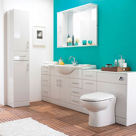 Alaska 6 Piece Vanity Unit Bathroom Suite (High Gloss White - Depth 330mm)