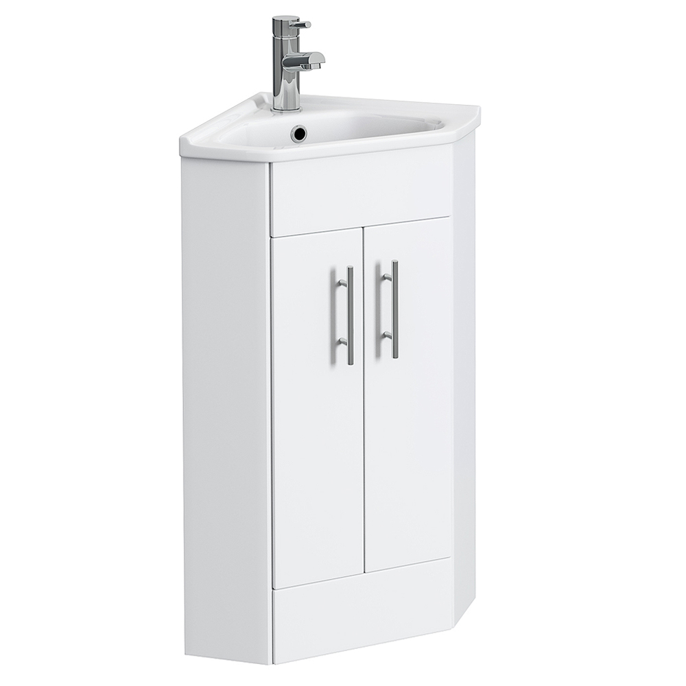 Alaska Corner Cabinet Vanity Unit (High Gloss White) profile large image view 1