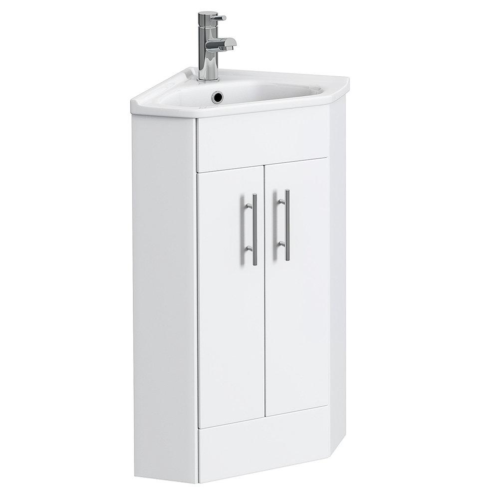 Alaska Corner Cabinet Vanity Unit (High Gloss White) Large Image