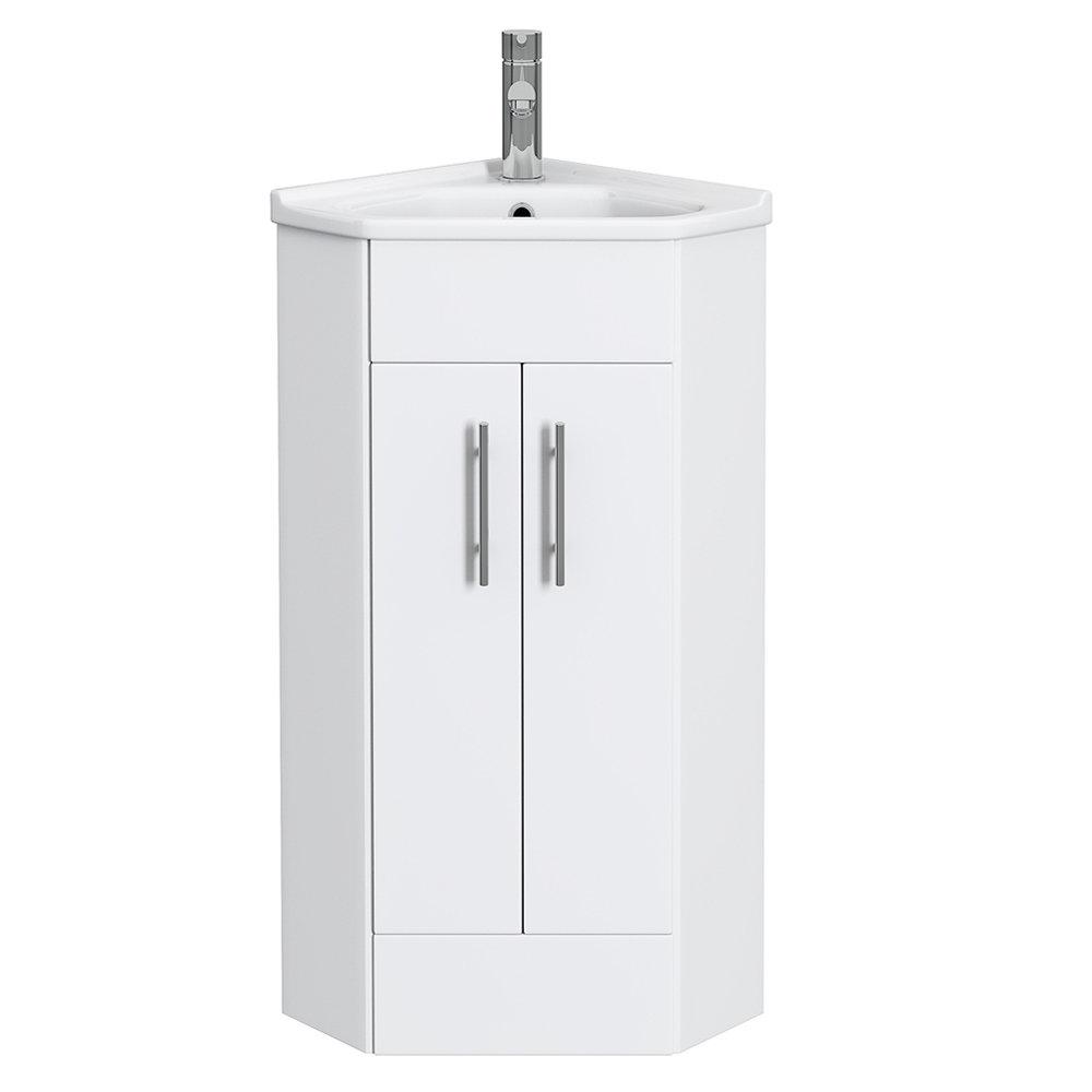 Alaska Corner Cabinet Vanity Unit (High Gloss White) Profile Large Image