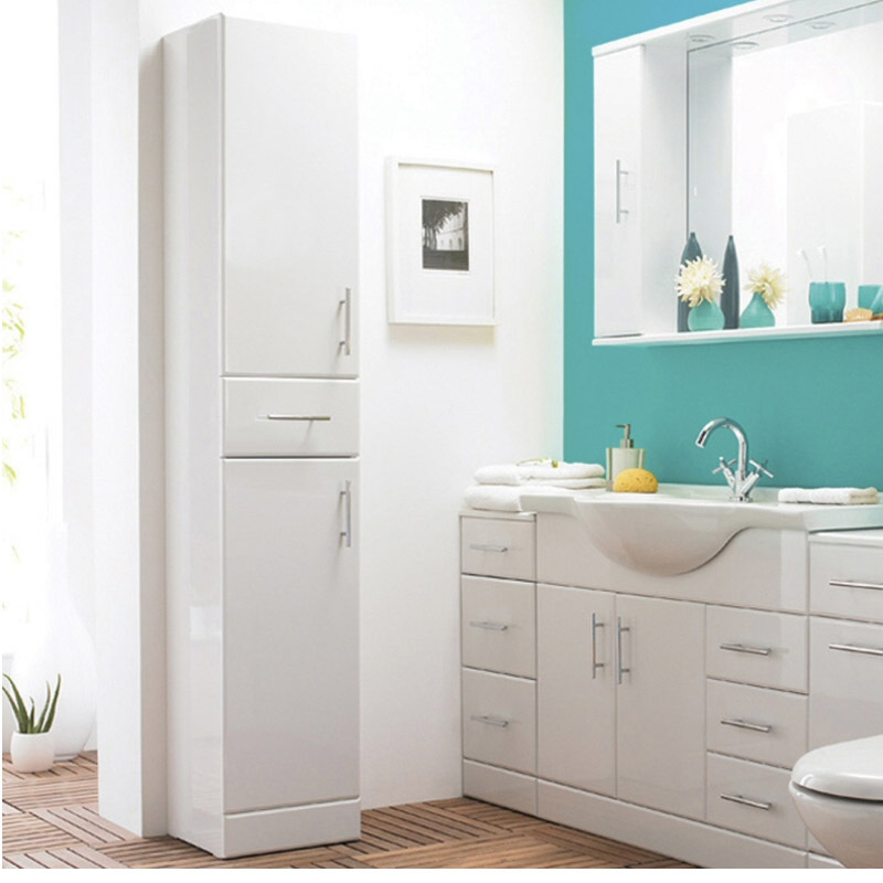 Alaska 350mm Tallboy Unit (High Gloss White - Depth 330mm) Feature Large Image
