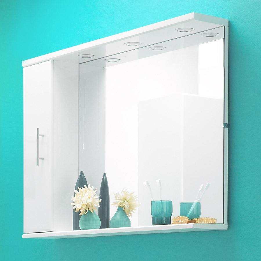 Alaska 1050mm Illuminated Mirror Cabinet (High Gloss White - Depth 170mm) profile large image view 2