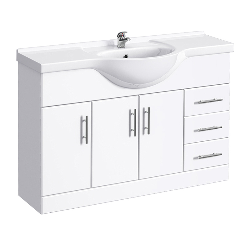 Alaska 1700mm Vanity Unit Suite + Basin Mixer (High Gloss White - Depth 330mm) Profile Large Image