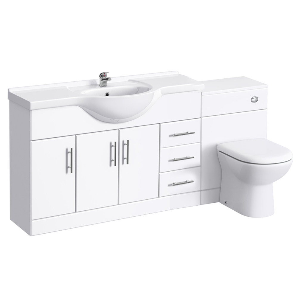 Alaska 1700mm Vanity Unit Suite + Basin Mixer (High Gloss White - Depth 330mm) Large Image