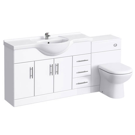 Alaska 1700mm Vanity Unit Suite + Basin Mixer (High Gloss White - Depth 330mm)