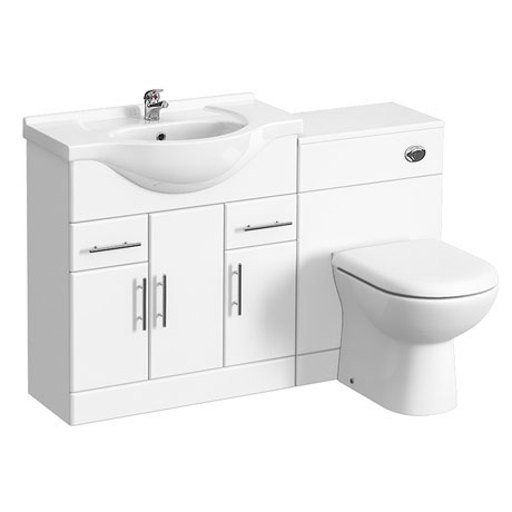 Alaska 1250mm Vanity Unit Bathroom Suite (High Gloss White - Depth 330mm)