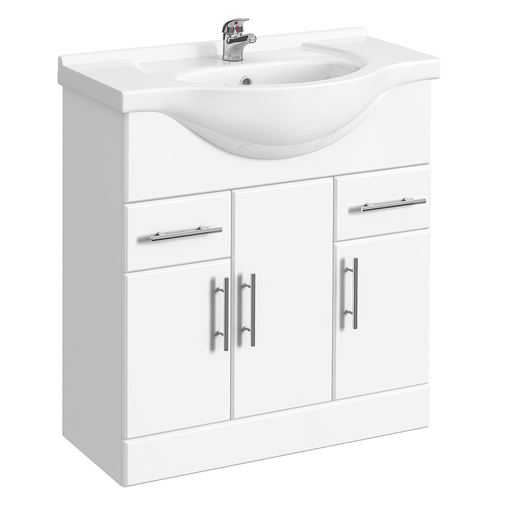 Alaska 1250mm Vanity Unit Bathroom Suite (High Gloss White - Depth 330mm) Profile Large Image