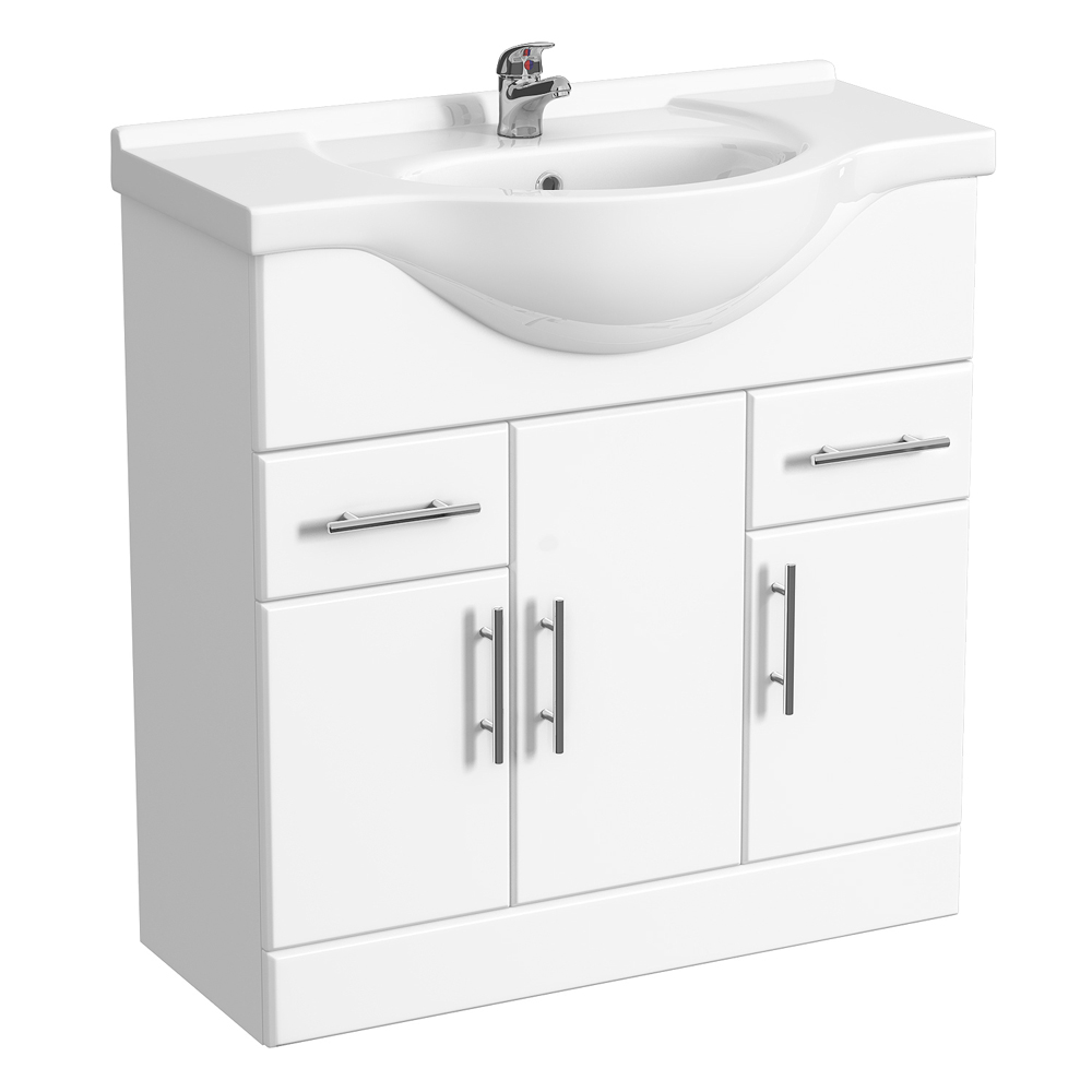 Alaska 1320mm Vanity Unit Suite + Basin Mixer (High Gloss White - Depth 330mm) profile large image view 2