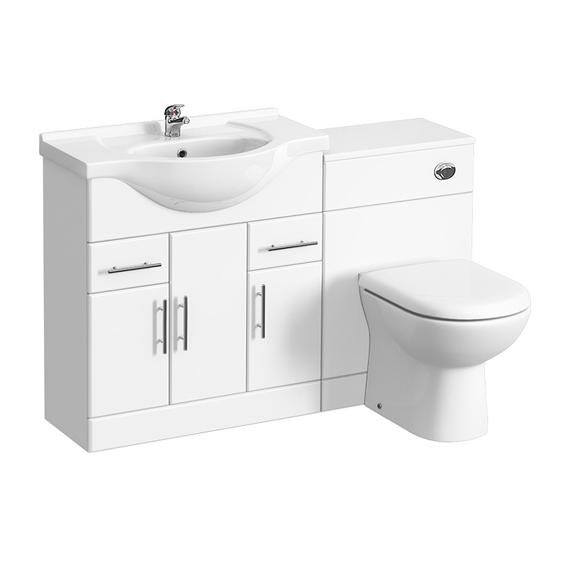 Alaska 1320mm Vanity Unit Suite + Basin Mixer (High Gloss White - Depth 330mm) Large Image