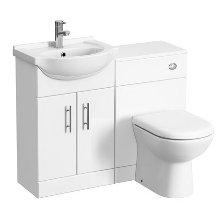 Alaska 1050mm Vanity Unit Cloakroom Suite (Gloss White - Depth 300mm)