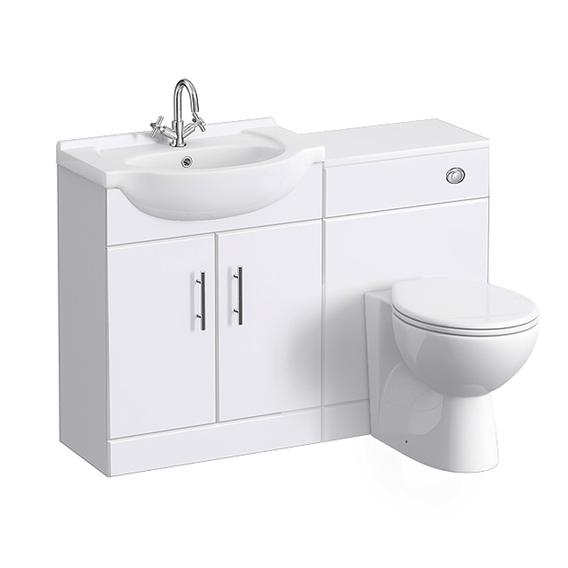 Alaska 1150mm Vanity Unit Cloakroom Suite (High Gloss White - Depth 300mm) profile large image view 1