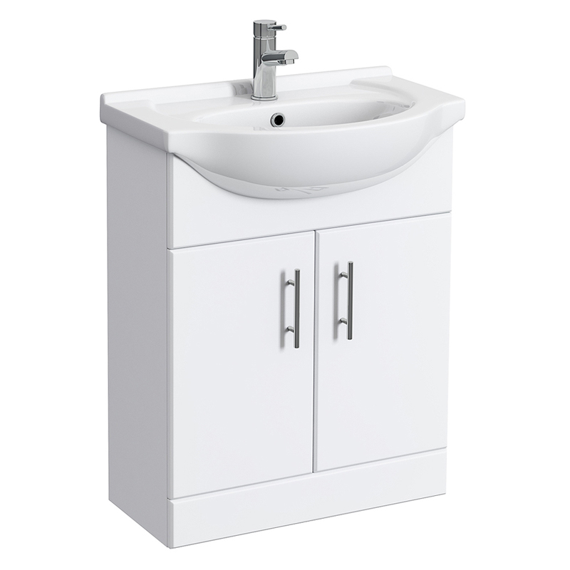 Alaska 1150mm Vanity Unit Cloakroom Suite (High Gloss White - Depth 300mm) profile large image view 4