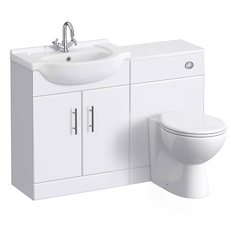 Alaska 1150mm Vanity Unit Cloakroom Suite (High Gloss White - Depth 300mm)