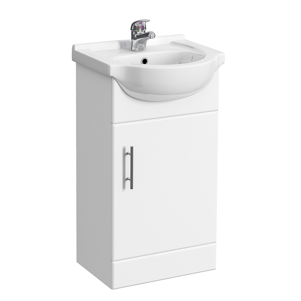 Alaska 950mm Cloakroom Vanity Unit Suite + Basin Mixer (Gloss White - Depth 300mm) profile large image view 3