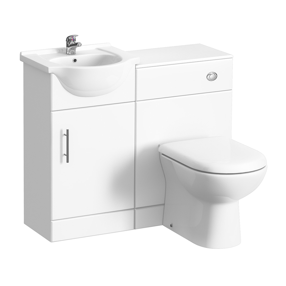 Alaska 950mm Cloakroom Vanity Unit Suite + Basin Mixer (Gloss White - Depth 300mm) profile large image view 1
