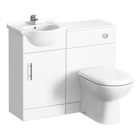 Alaska 950mm Cloakroom Vanity Unit Suite + Basin Mixer (Gloss White - Depth 300mm)