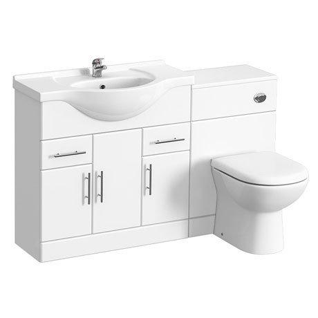 Alaska 1320mm Vanity Unit Bathroom Suite (High Gloss White - Depth 330mm)