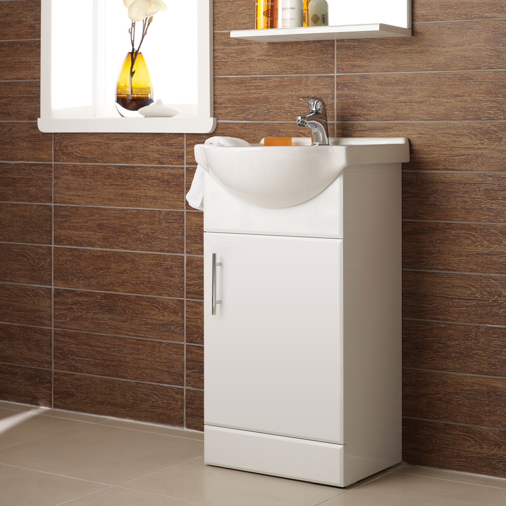 Alaska 450mm Small Vanity (High Gloss White - Depth 300mm) Profile Large Image