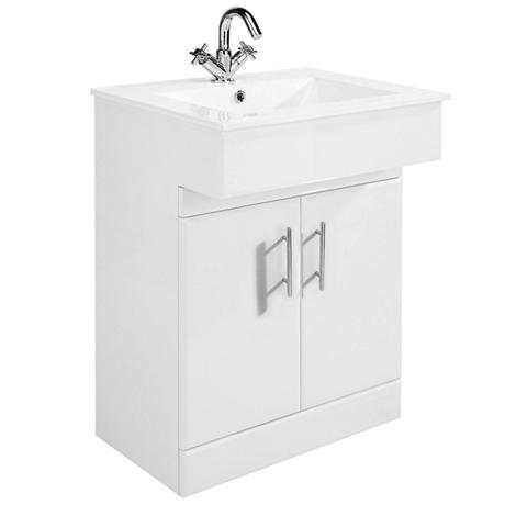 Premier Dove High Gloss White Vanity Unit with Basin W610 x D330mm - VTY036
