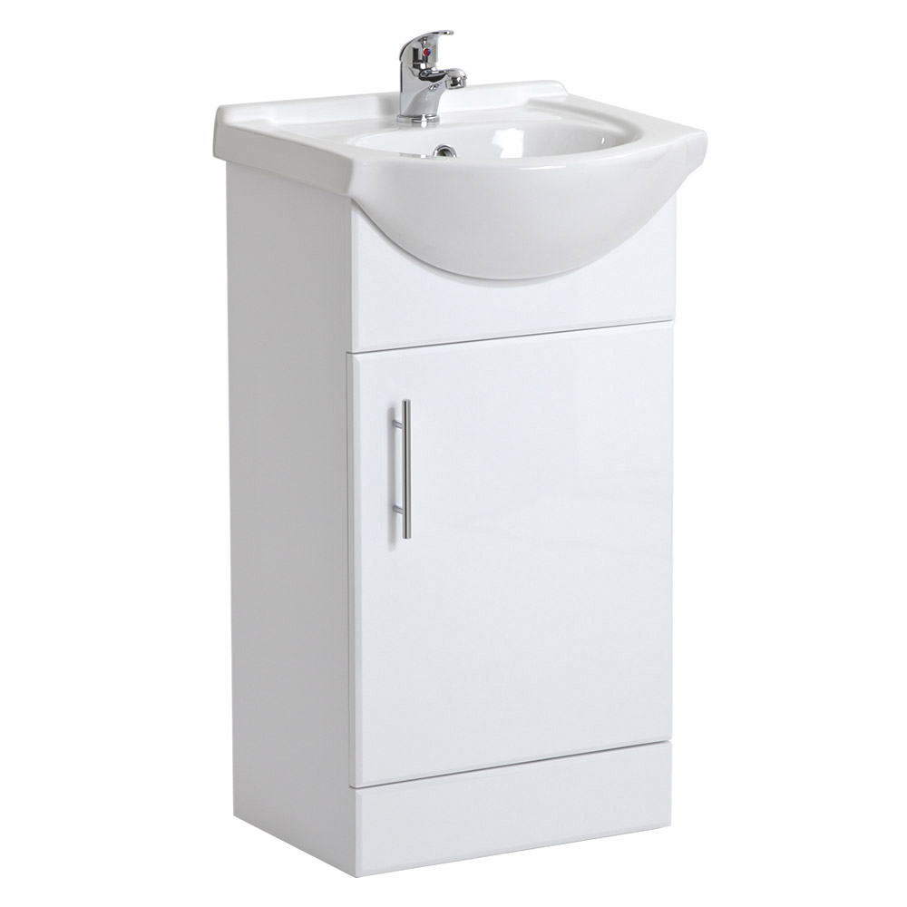 Alaska 450mm Vanity Unit with Illuminated Mirror (High Gloss White - Depth 300mm) Profile Large Image