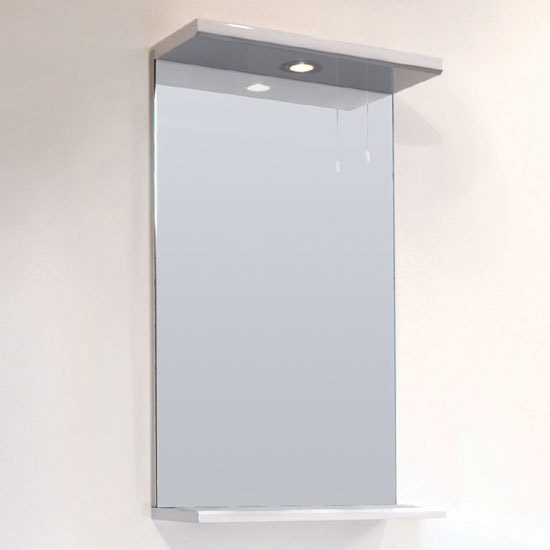 Alaska 450mm Vanity Unit with Illuminated Mirror (High Gloss White - Depth 300mm) Standard Large Image
