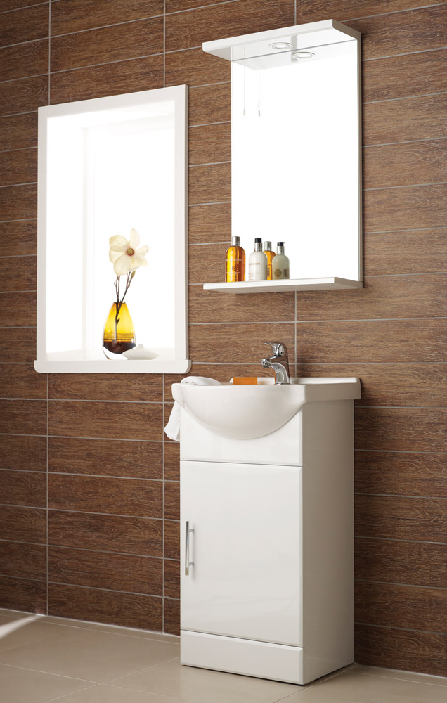 Alaska 450mm Vanity Unit with Illuminated Mirror (High Gloss White - Depth 300mm) Large Image