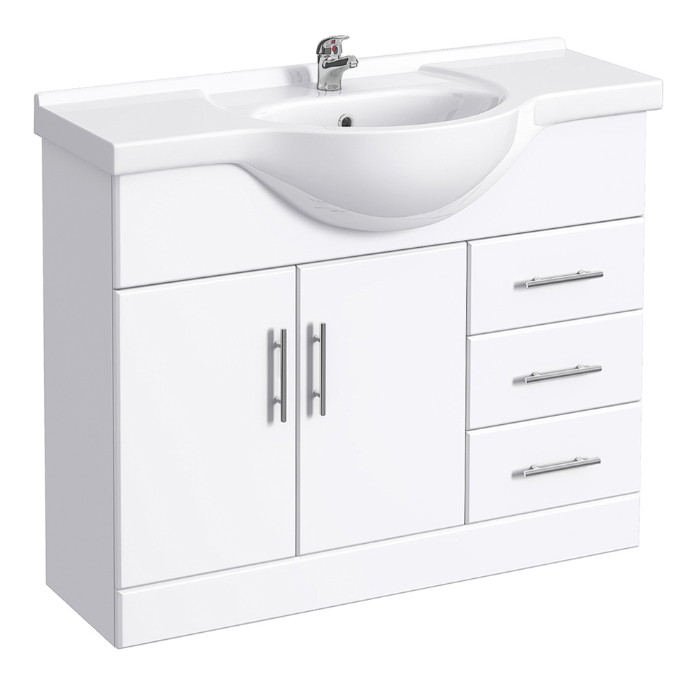 Alaska 1520mm Vanity Unit Suite + Basin Mixer (High Gloss White - Depth 330mm) Profile Large Image