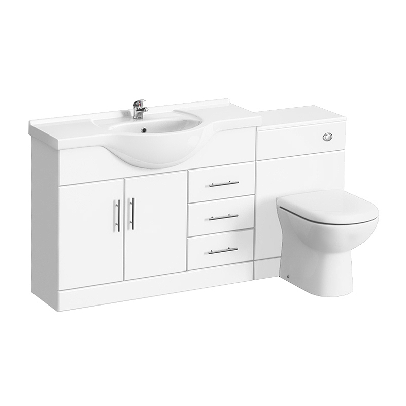Alaska 1520mm Vanity Unit Suite + Basin Mixer (High Gloss White - Depth 330mm) Large Image