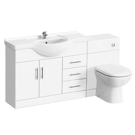 Alaska 1520mm Vanity Unit Suite + Basin Mixer (High Gloss White - Depth 330mm)