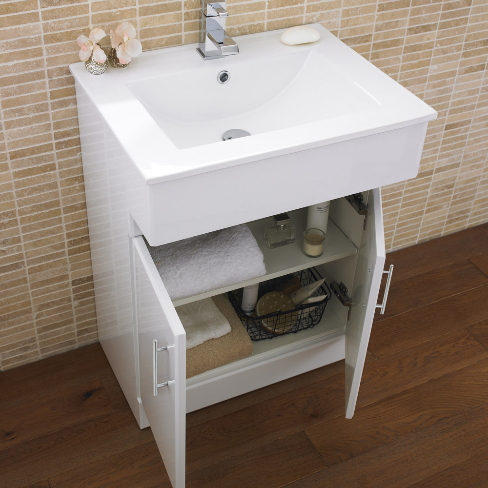 Premier Dove High Gloss White Vanity Unit with Basin W610 x D330mm - VTY036 In Bathroom Large Image