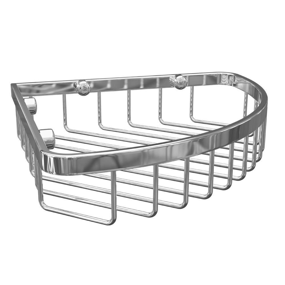 Alberta Corner Wire Soap Basket - Chrome | Victorian Plumbing UK