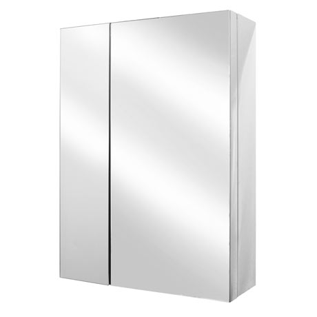 Alberta Polished Stainless Steel 2-Door Mirror Cabinet