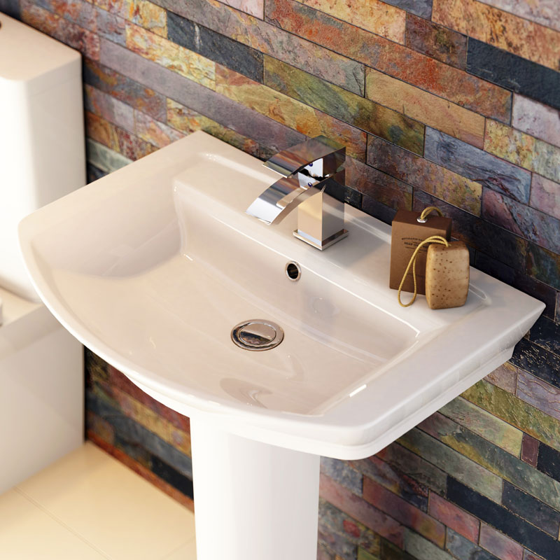 Hudson Reed Alton 4 Piece Bathroom Suite - CC Toilet & 1TH Basin with Pedestal - 3 x Basin Size Options profile large image view 4