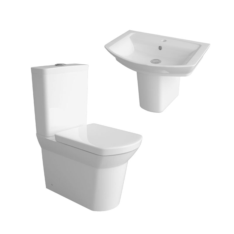 Hudson Reed Alton 4 Piece Bathroom Suite - CC Toilet & 1TH Basin with Semi Pedestal Large Image