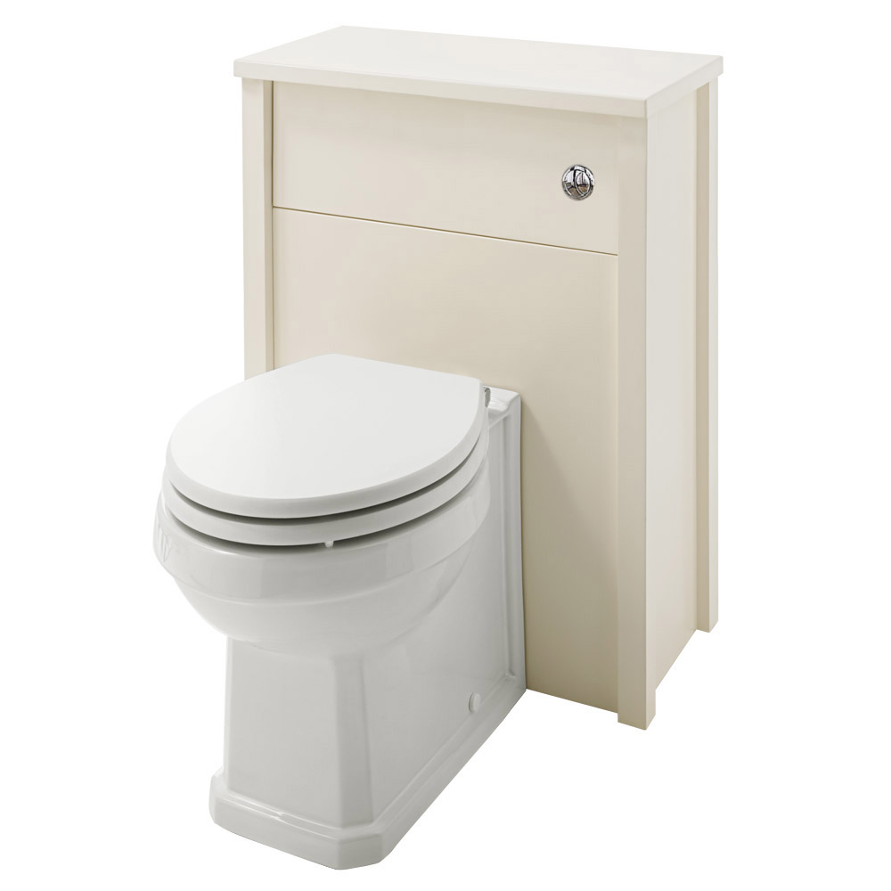 Alverton Ivory 600mm Solid Wood Back To Wall WC Unit with Pan & Seat Large Image