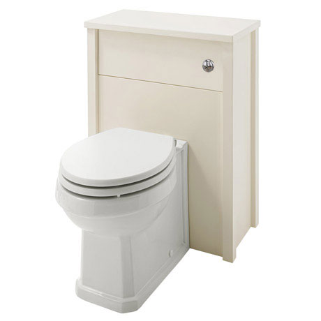 Alverton Ivory 600mm Solid Wood Back To Wall WC Unit with Pan & Seat