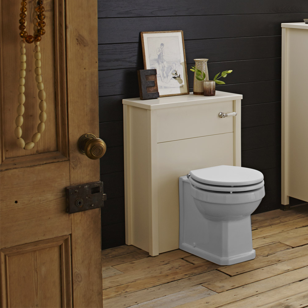Alverton Ivory 600mm Solid Wood Back To Wall WC Unit with Pan & Seat profile large image view 2