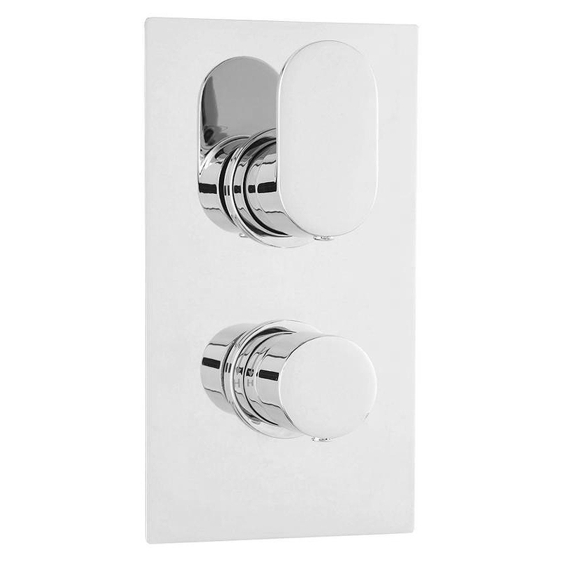 Amos Concealed Thermostatic Twin Shower Valve - Chrome Large Image