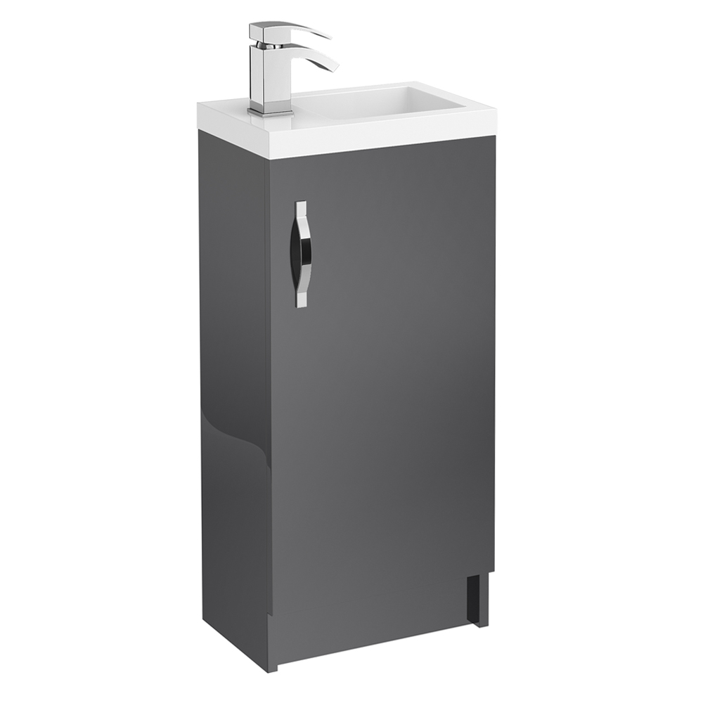 Apollo 400mm Compact Floor Standing Vanity Unit (Gloss Grey - Depth 255mm) Large Image