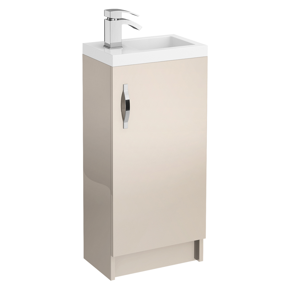 Apollo 400mm Compact Floor Standing Vanity Unit (Gloss Cashmere - Depth 255mm) Large Image