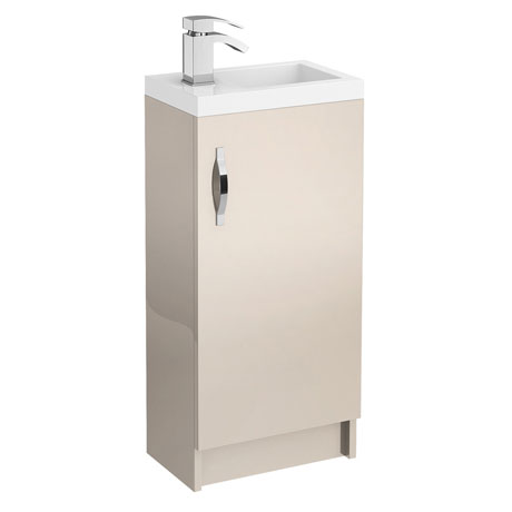 Apollo 400mm Compact Floor Standing Vanity Unit (Gloss Cashmere - Depth 255mm)