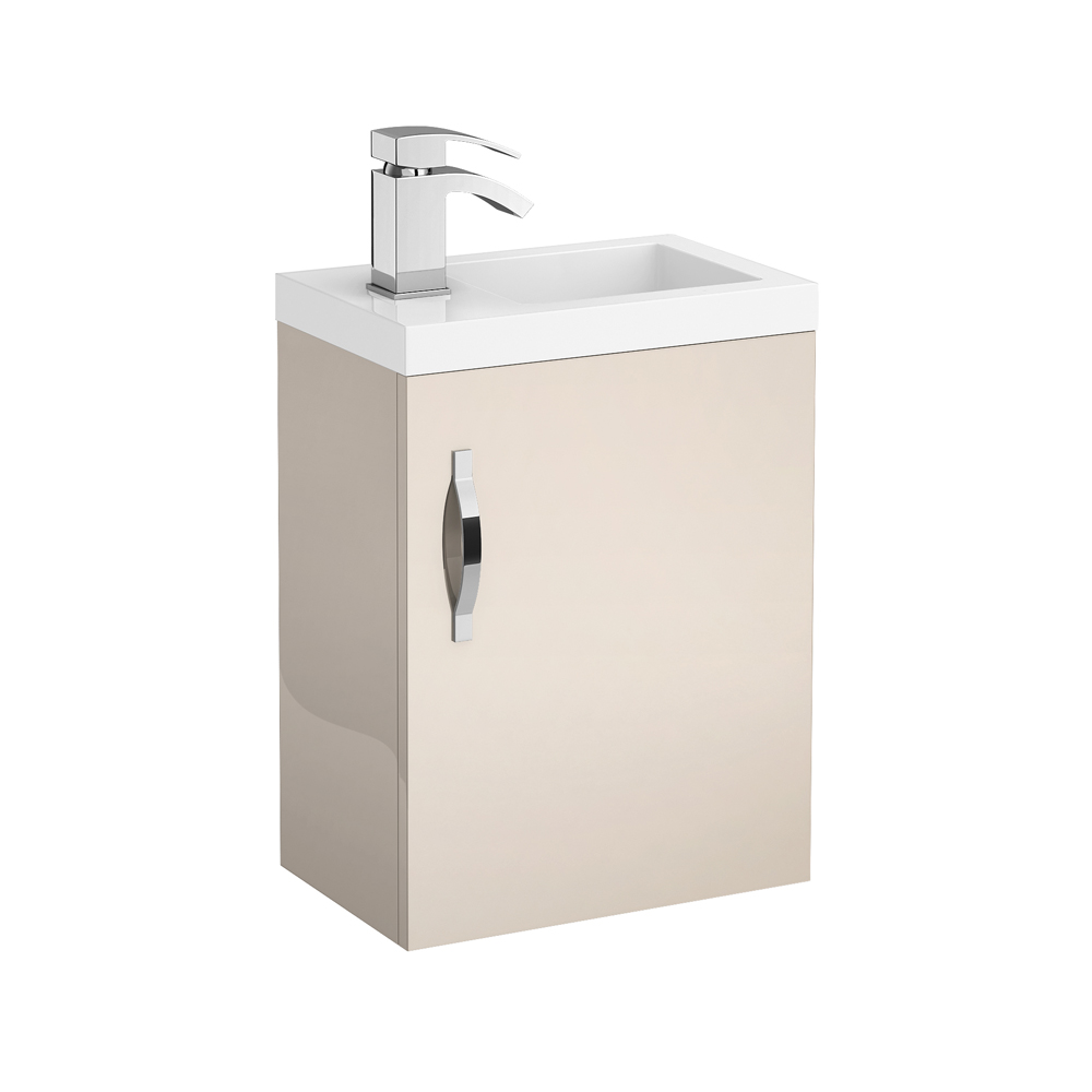 Apollo 400mm Compact Wall Hung Vanity Unit (Gloss Cashmere - Depth 255mm) profile large image view 1