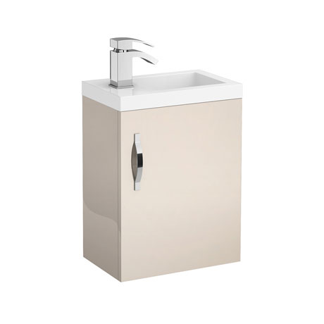 Apollo 400mm Compact Wall Hung Vanity Unit (Gloss Cashmere - Depth 255mm)