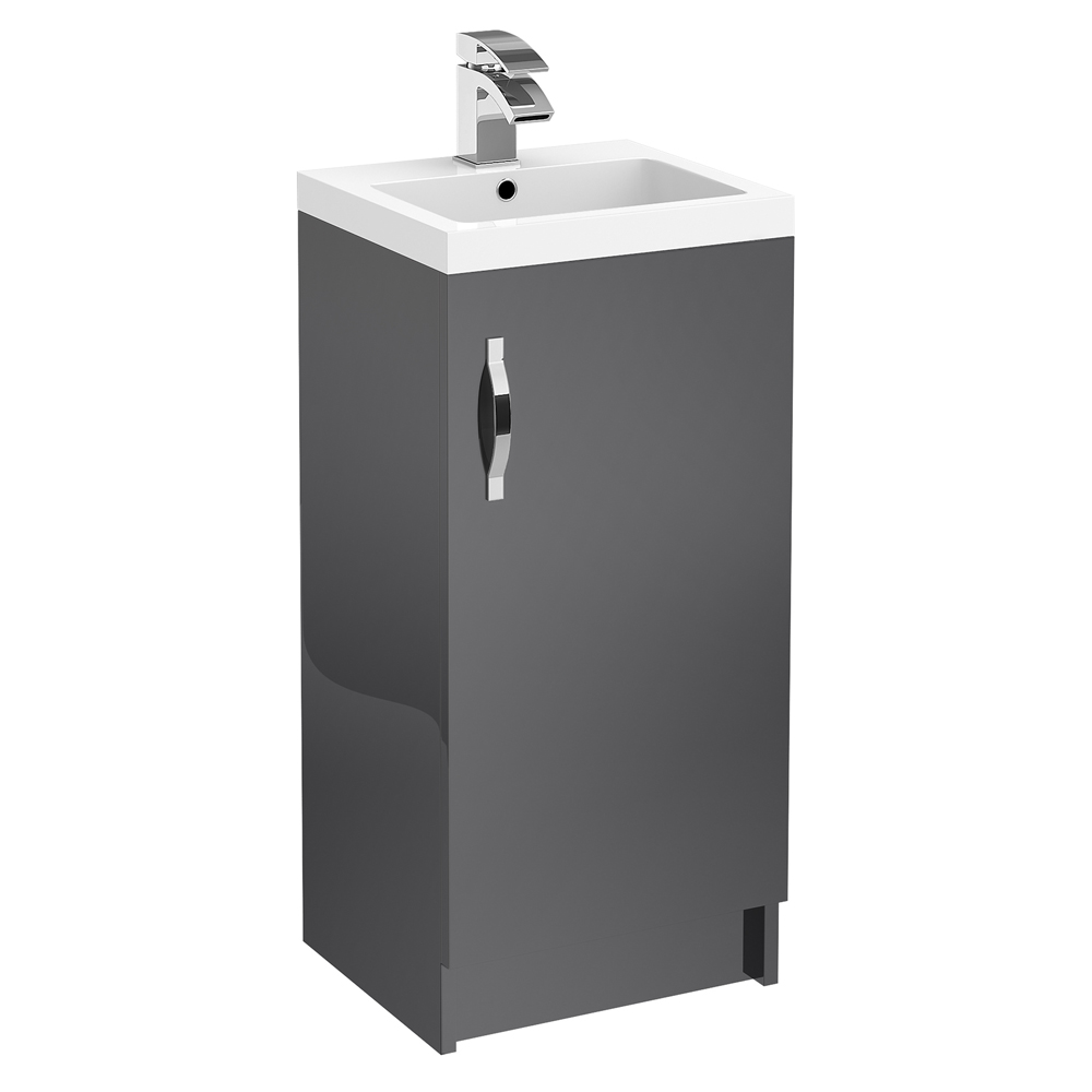 Apollo 400mm Floor Standing Vanity Unit (Gloss Grey - Depth 355mm) Large Image