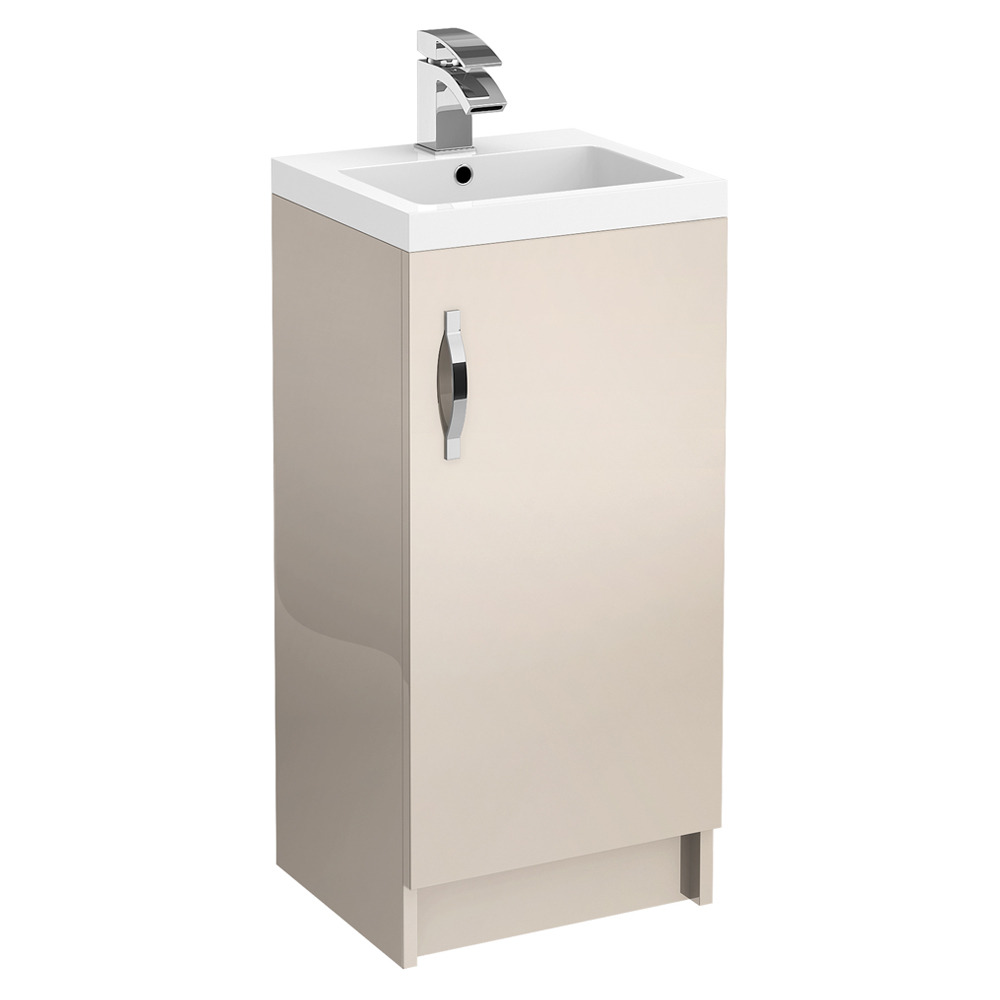 Apollo 400mm Floor Standing Vanity Unit (Gloss Cashmere - Depth 355mm) profile large image view 1