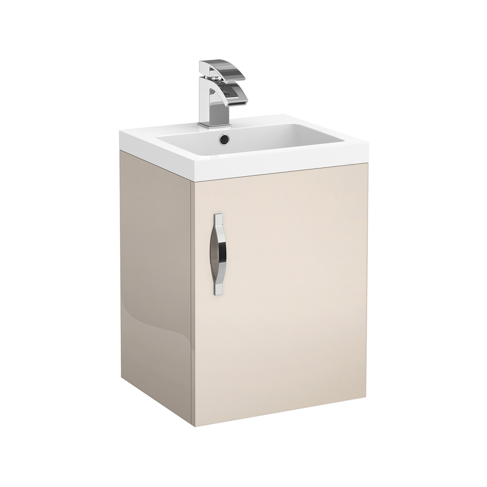 Apollo 400mm Wall Hung Vanity Unit (Gloss Cashmere - Depth 355mm) profile large image view 1