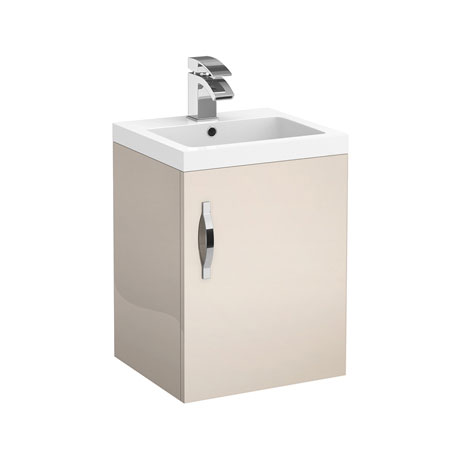 Apollo 400mm Wall Hung Vanity Unit (Gloss Cashmere - Depth 355mm)